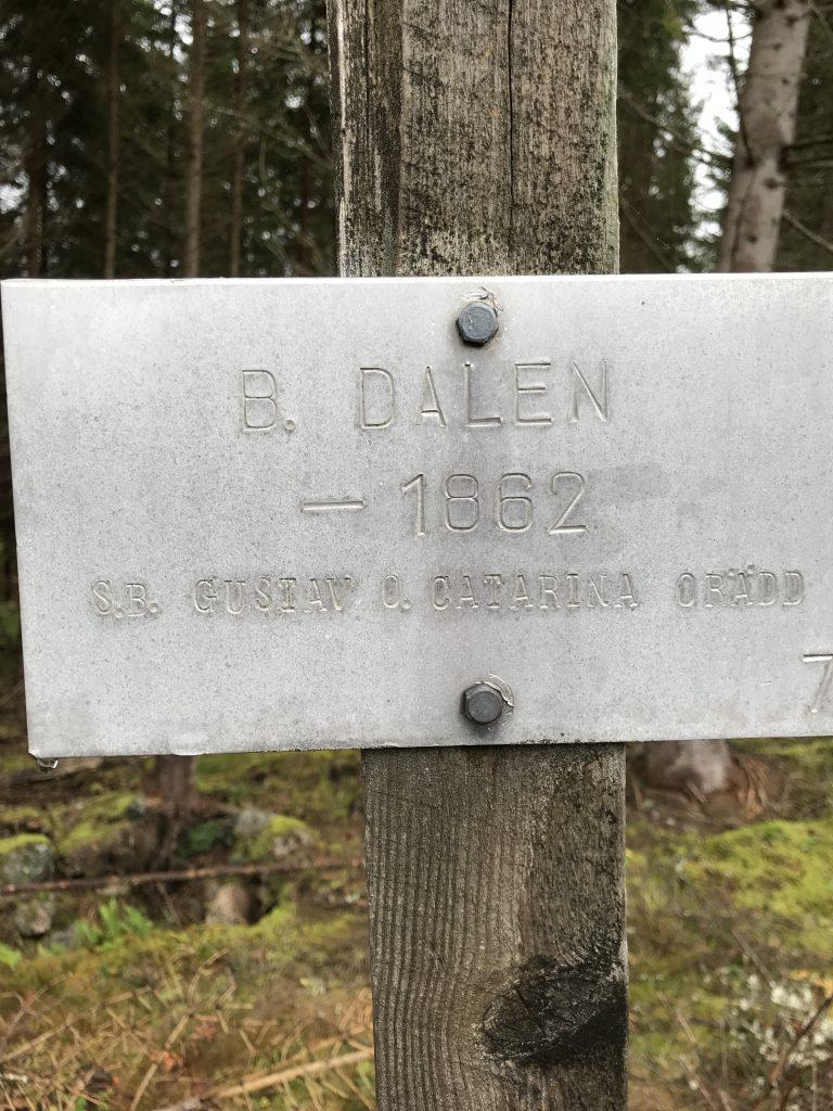 På Dalen har funnits både backstuga och soldattorp. Senast avflyttade var Gustav o Catarina Orädd.