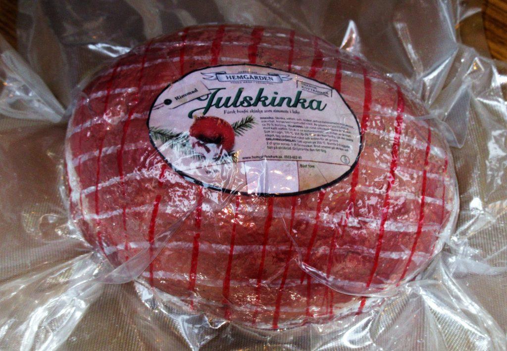 Så här såg skinkan ut. Den var tung!  Den var gjord av sten. Vinsten var en riktig skinka.