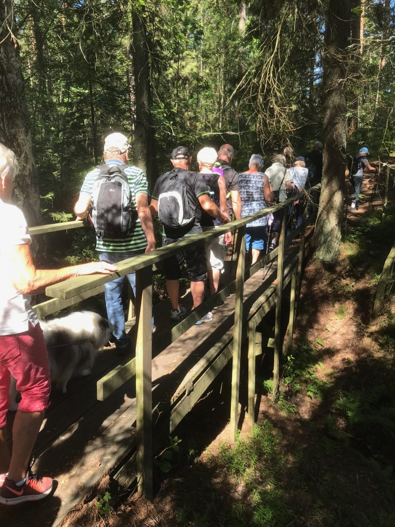 Alldeles i slutet upp mot Sjöåkra passerades en bro. Fast bäcken var uttorkad.
