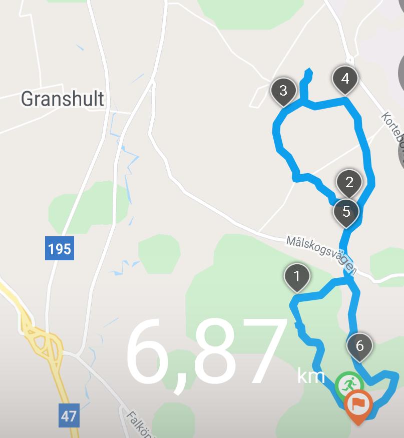 Så här såg dagens runda ut på GPSen. 6,8 km är väl nästan rekord!