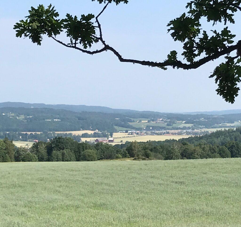 Mot NV såg vi Drättinge lagård och Lyckås längre bort.